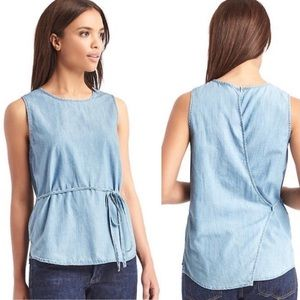 Gap Open Back Tank in Light Indigo NWT